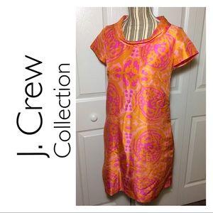 J Crew Collection orange silk ikat shift dress